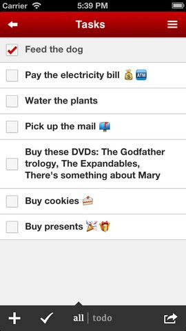 task list made on a mobile phone